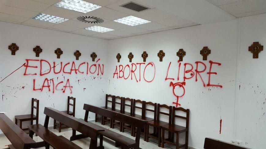 Así amaneció esta mañana la capilla de la Universidad Autónoma.